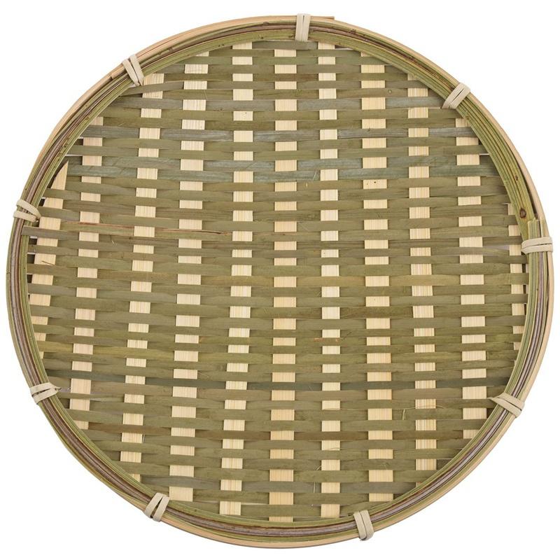 竹製圓形水果盤手工收納盤手工編織麵包籃食品水果籃酒店飯店餐盤直徑22cm