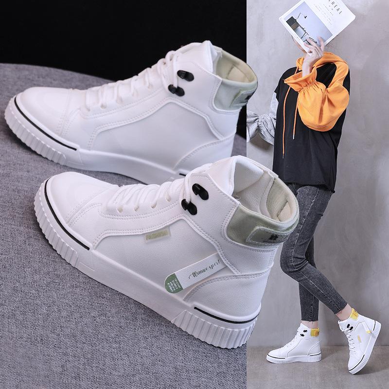 女鞋新款秋冬韓版高幫女板鞋厚底休閒學生運動小白鞋潮