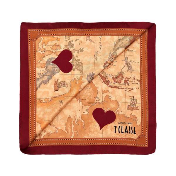 【Alviero Martini 義大利地圖包】經典地圖愛心絲巾(90X90) 暗紅/地圖黃