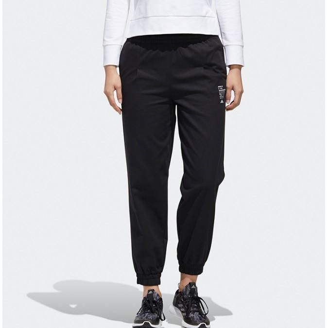 Adidas 長褲 黑色 縮口 休閒 工裝視感 鬆緊 女 gf0117