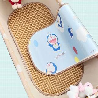 【現貨】寶寶搖床涼席雙面竹席嬰兒吊床冰絲席電動搖籃席子推車涼席定做