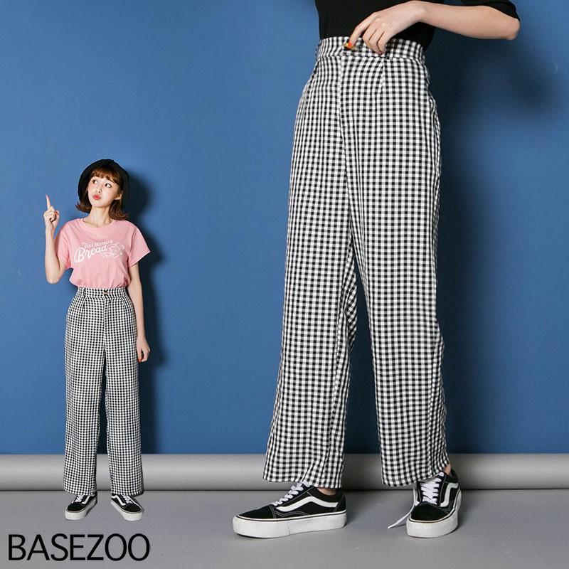 貝思奇-(黑白小格)百搭直筒西裝褲【S450805】