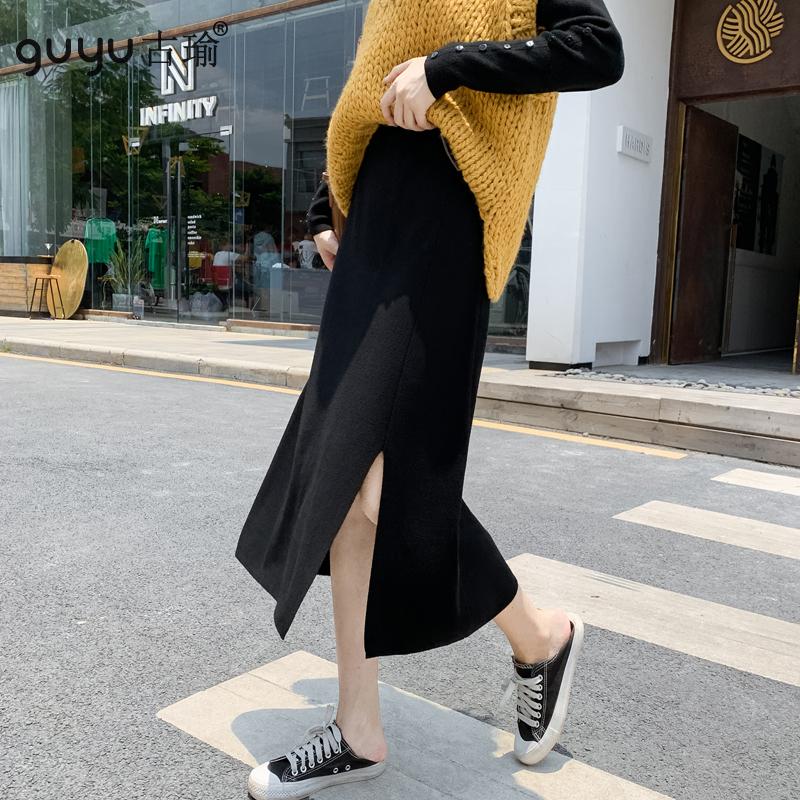 GUYU古瑜秋冬開衩長裙顯瘦過膝半身裙針織裙