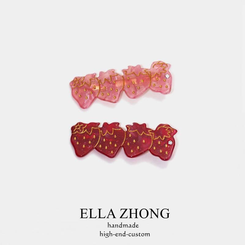 出口日本~草莓控髮夾邊夾可愛少女髮飾頭飾韓國日系醋酸發卡淑女