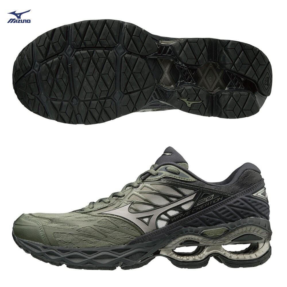 MIZUNO WAVE CREATION 20 男鞋 慢跑 中高足弓 耐磨 彈性 綠 黑【運動世界】J1GC190158