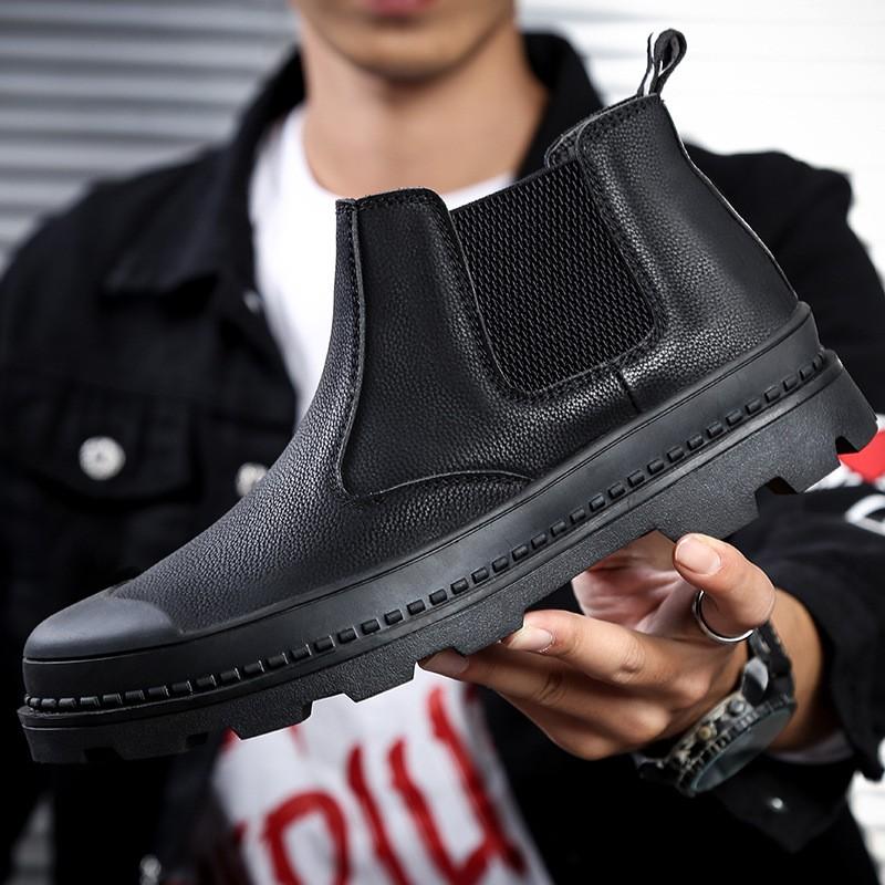 酷. 馬丁靴男冬季加絨高幫保暖皮鞋男士戶外潮流百搭軍靴短靴