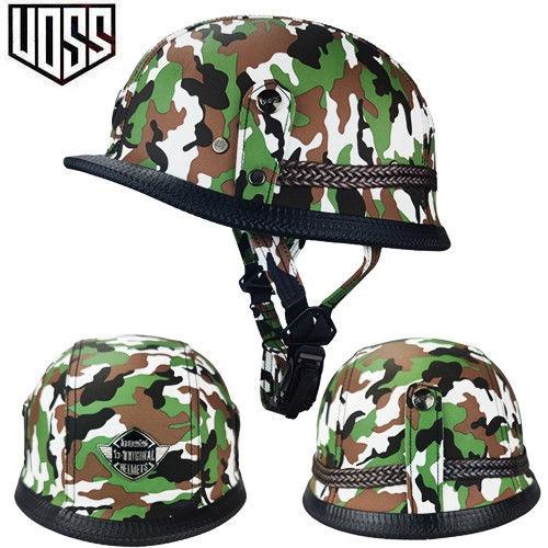 哈雷頭盔安全帽VOSS電動摩托車頭盔男復古半盔二戰ABS四季迷彩皮革盔機帽四季