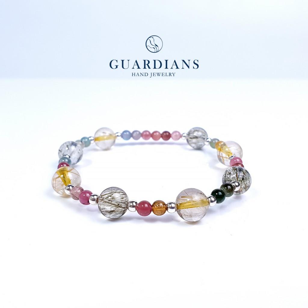【Guardians】《Iridescent》鈦晶 黃髮晶 綠髮晶 碧璽 招財 人緣 串珠 手鍊 手環 925純銀