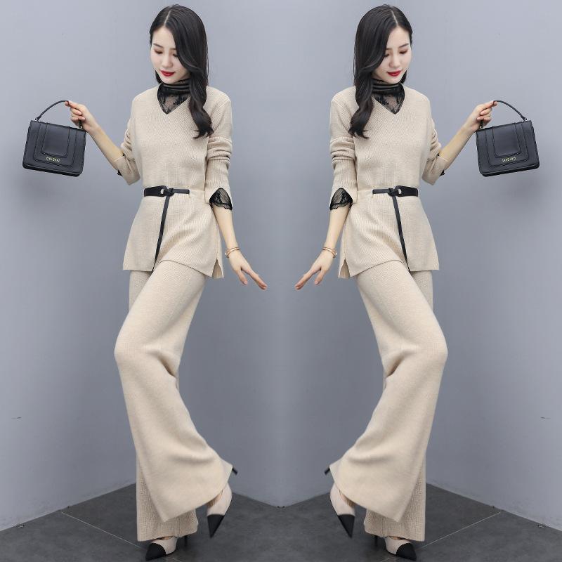 【滿99包郵】2021春秋新款上衣拼接顯瘦時尚加厚毛衣闊腿褲兩件套套裝