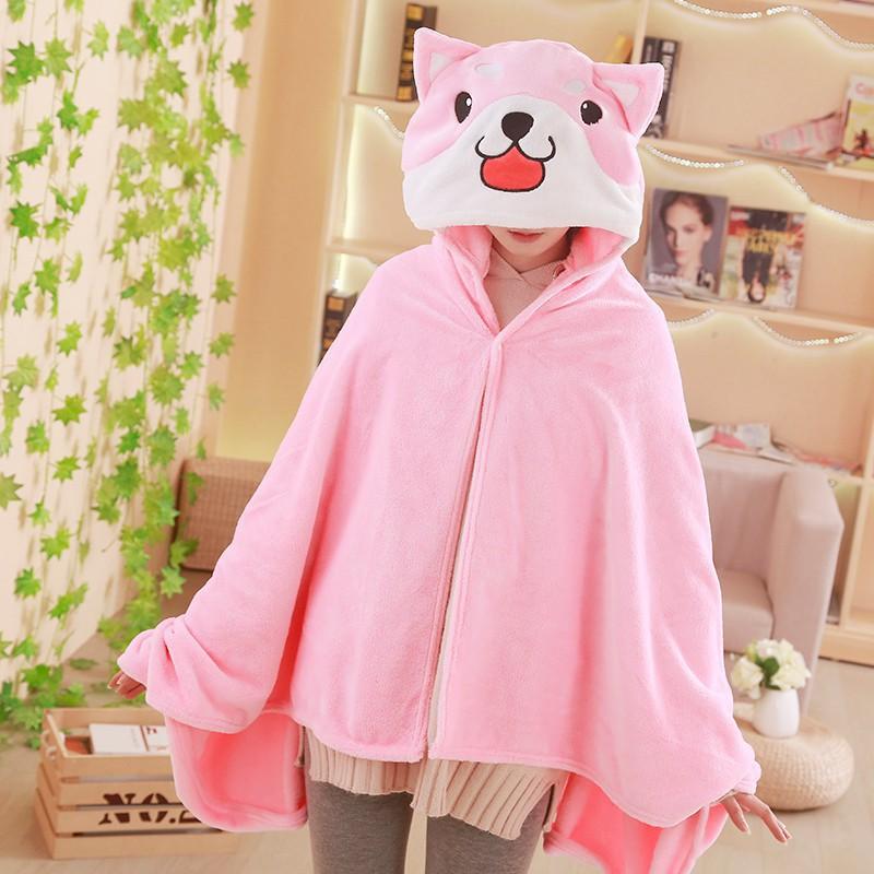 新款可愛柴犬小狗卡通法蘭絨午睡空調蓋毯連帽大號披肩家居小毛毯