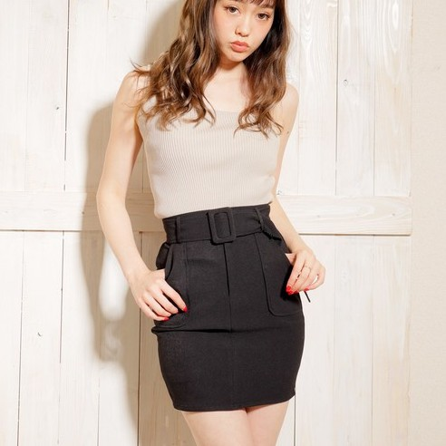 LIP SERVICE【V0120-004】大口袋附腰帶合身短裙(2色)