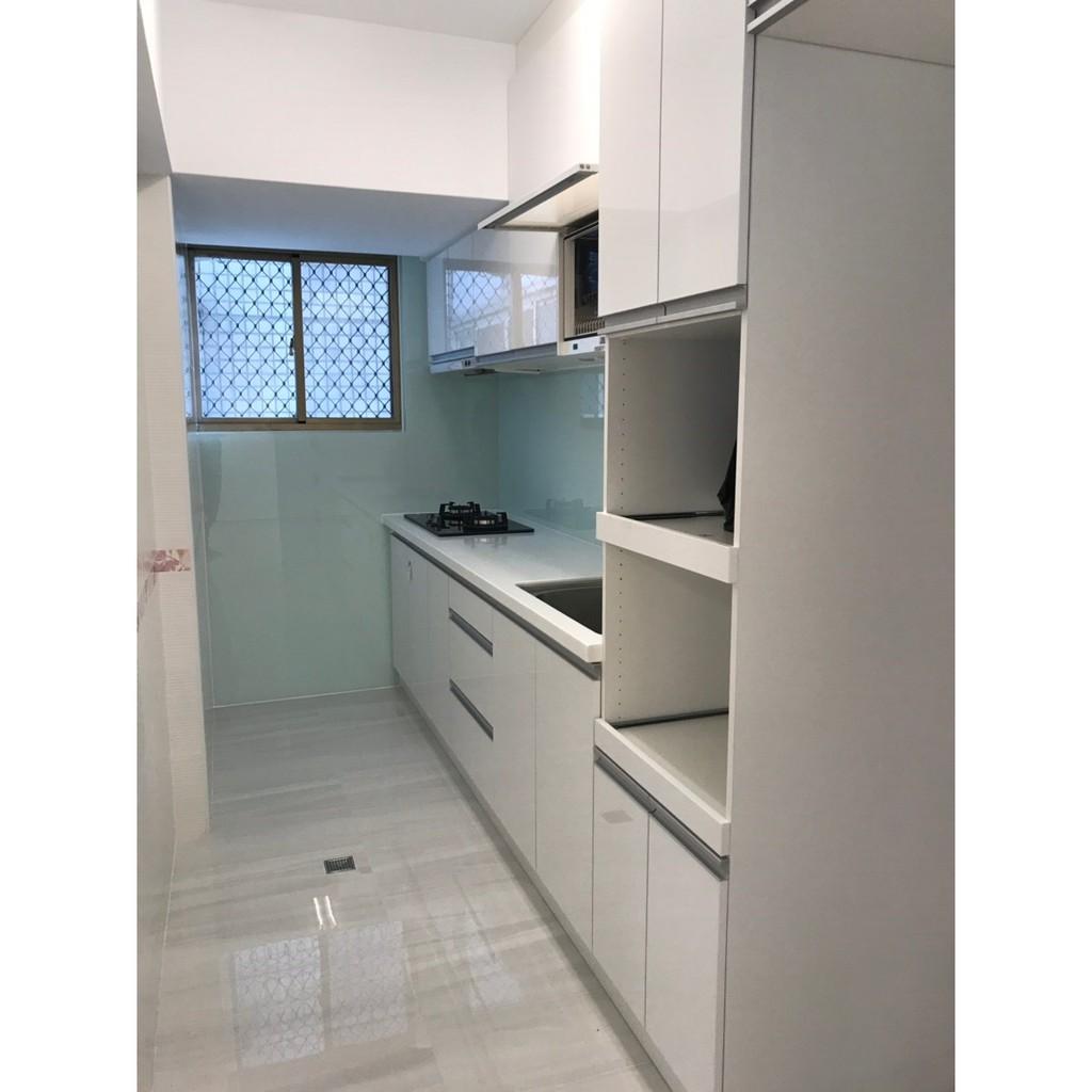 台中系統櫃--8尺超優惠水晶門板雙開門系統廚櫃{ 湯姆 雙開門廚房櫥櫃組 }現代風格客製化 不含抽屜拉籃、電器櫃、三機