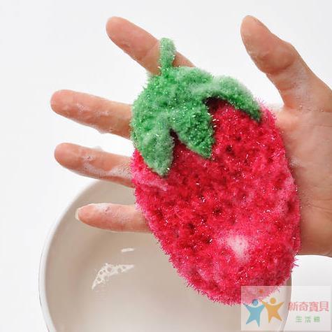 【新奇寶貝生活館】超萌 出口韓國可愛草莓水果 洗碗巾 百潔布 刷碗布 不沾油不傷手