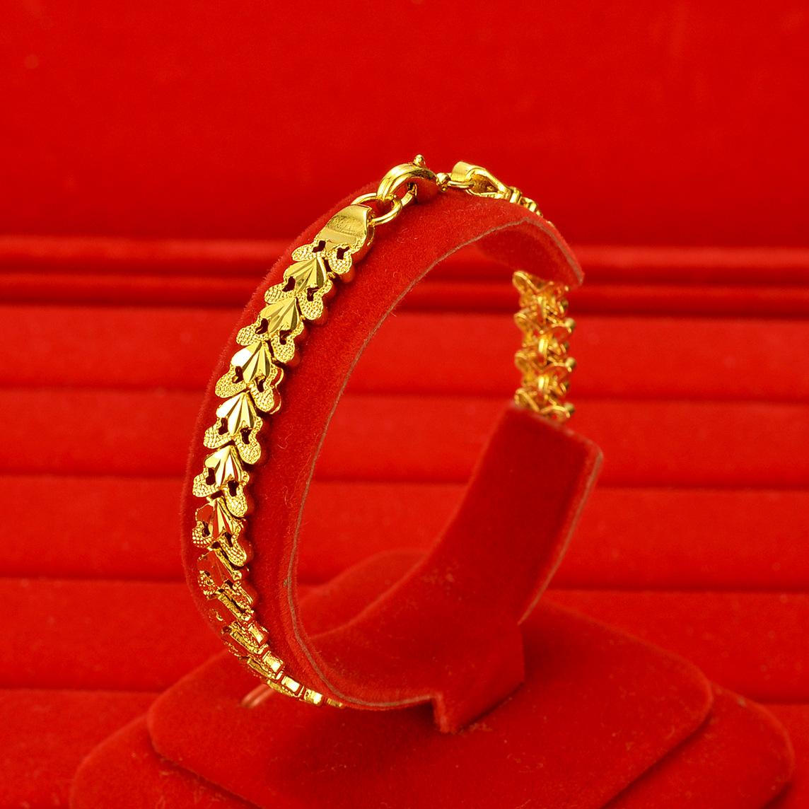 沙金手鍊女 仿黃金手飾女款飾品仿真黃金色鍍金龍蝦扣手鍊女批發
