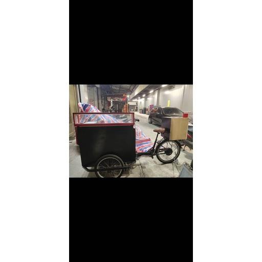 售35000電動三輪行動餐車 附旗桿架 電池 充電器 小黑板