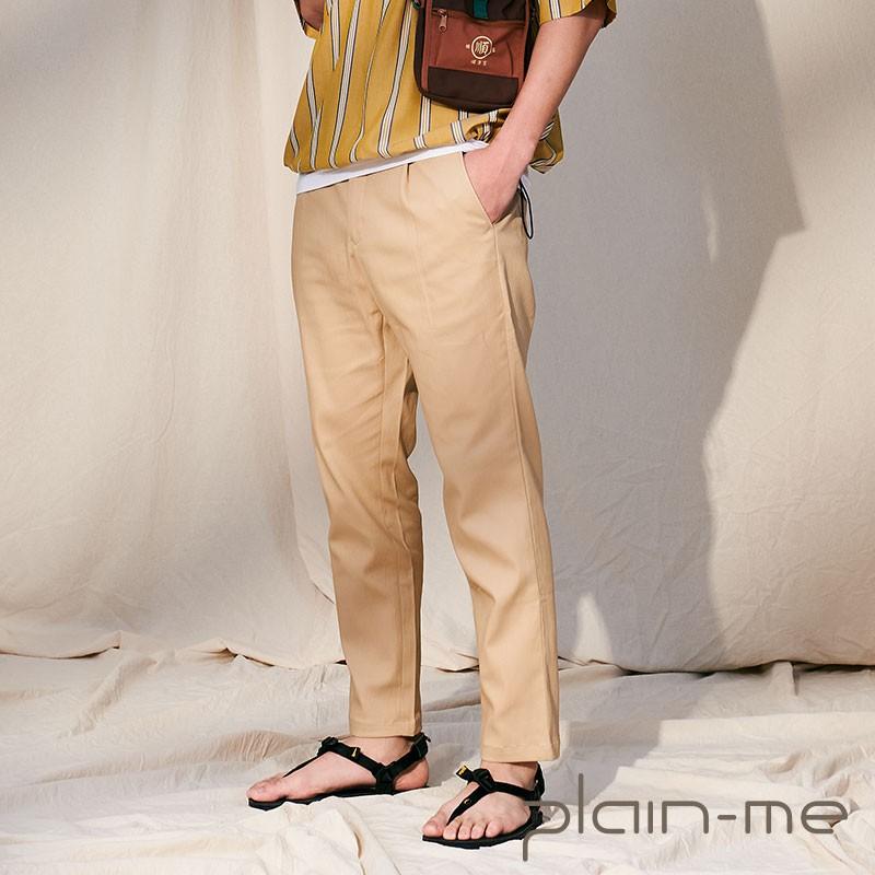 【plain-me】1616 吸濕排汗打褶長褲  (黑/卡其/軍綠) COP1676
