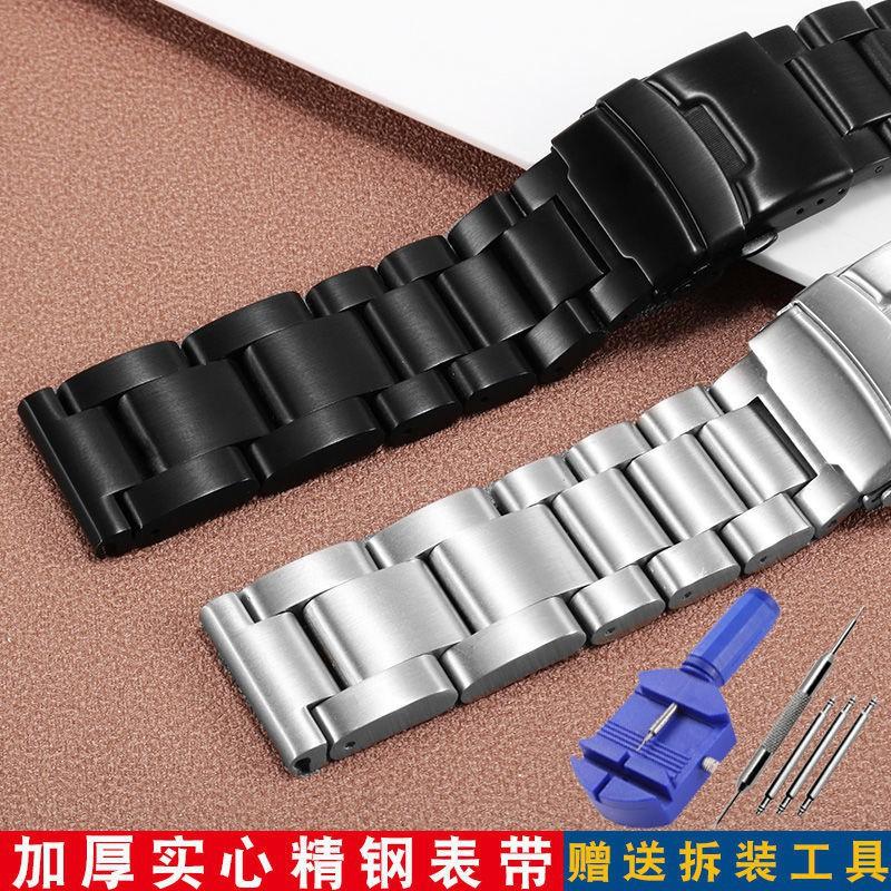時光LUMINOX BREITLING 大號鋼帶手鍊 Panerai 警察發光黑色加厚不銹鋼錶帶時尚