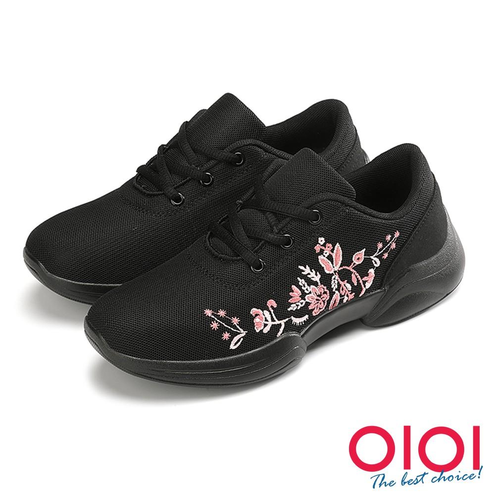 【0101shoes】休閒鞋 花朵綻放刺繡飛織綁帶休閒鞋(黑) 【18-2062bk】【現貨】