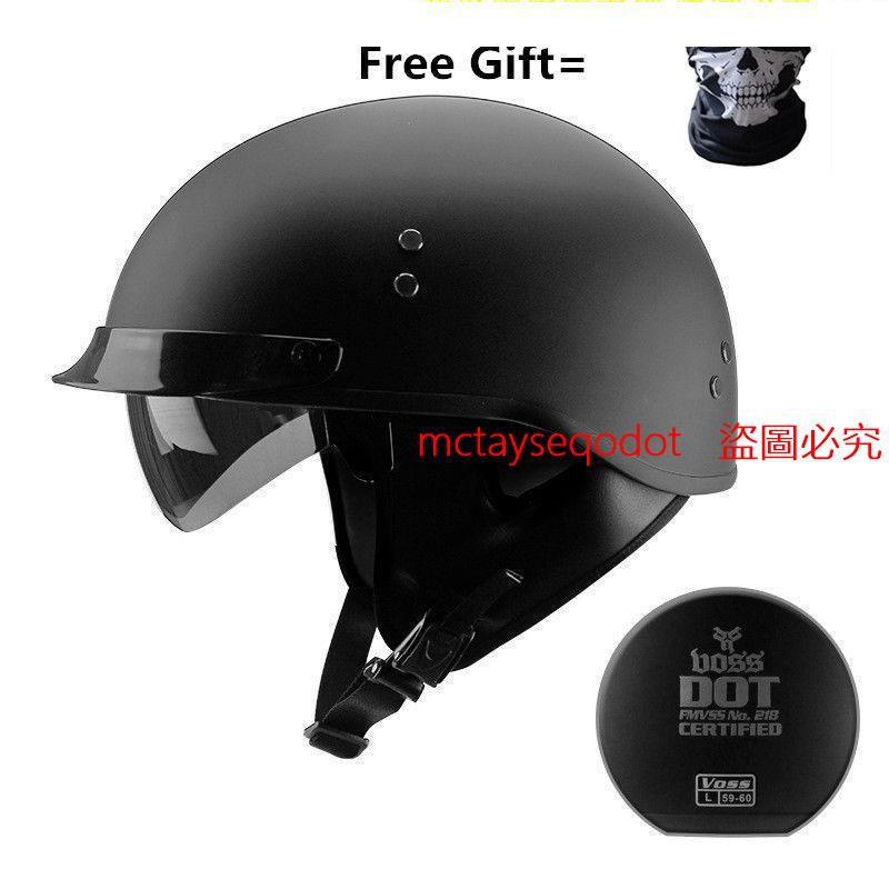 廠家直銷*VOSS摩托車頭盔男女通用四季復古半盔電動車防曬安全帽可拆洗圍脖吾家良品
