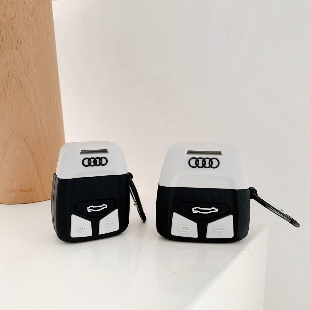 蘋果 Airpods 12 Pro 充電盒 Tpu 保護套耳塞耳機 360 全覆蓋的豪華奧迪汽車鑰匙模型矽膠耳機保護套