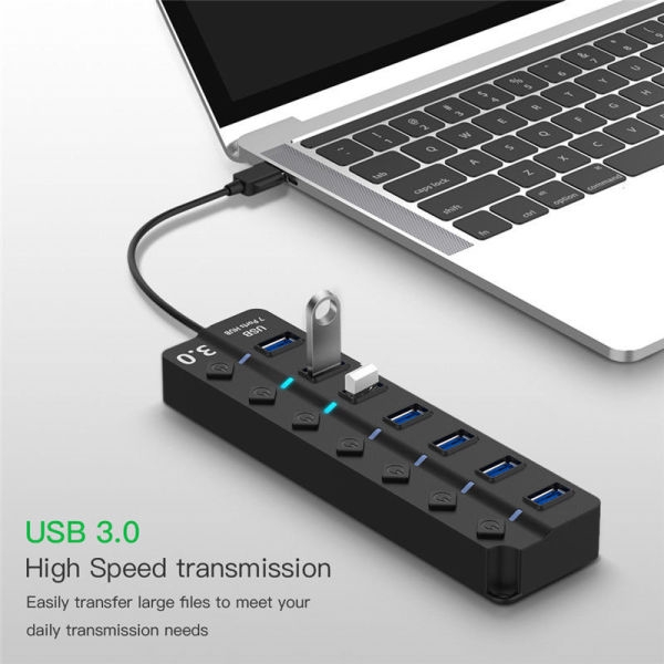 USB 3.0 4/7口HUB帶按鍵開關 4/7HUB集綫器usb3.0一拖四 usb3.0分綫器 ajkhu