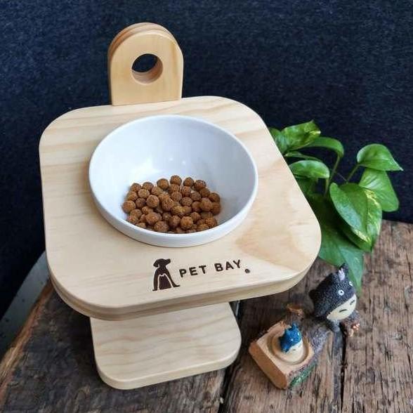 【 PET BAY 】可調式原木單口碗架/寵物碗架/貓狗碗架(陶瓷)-原價800元
