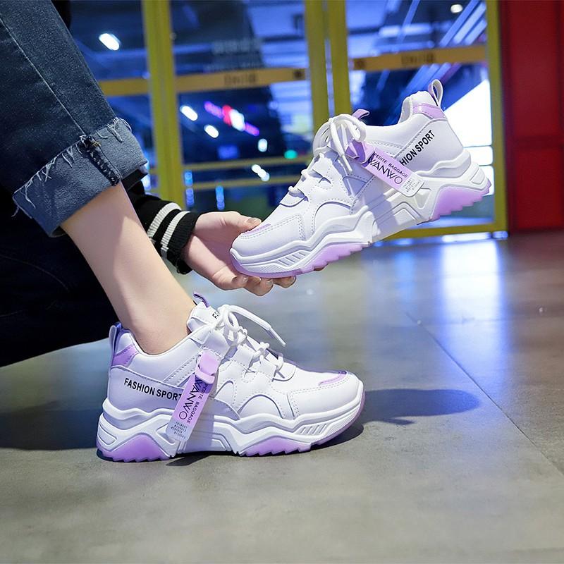 店長推薦▌紫色鞋子女2020春季新款老爹鞋女ins潮原宿ulzzang初中學生運動鞋