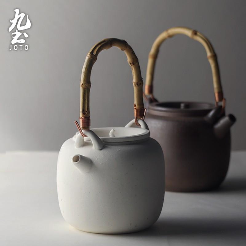 【九土JOTO】日式竹提梁陶泥壺日式陶泥煮茶壺橄欖碳爐小火爐煮茶壺茶道零配禪意陶瓷茶具炭爐