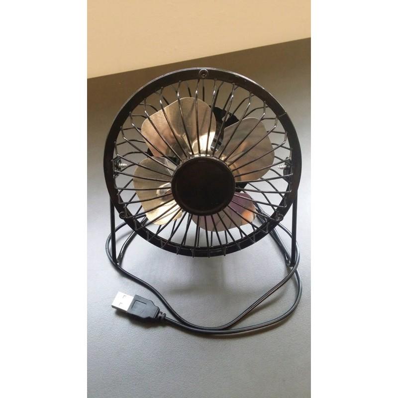 二手【經典復古 USB 黑鐵殼風扇 4吋 CX-F14】桌扇  風力強勁 金屬鋁葉 工業桌扇