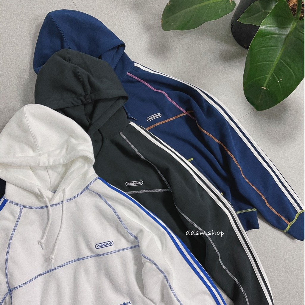 Adidas Originals 帽tee 車線 黑色 GN3891 白色 GN3892 藍色 GN3893