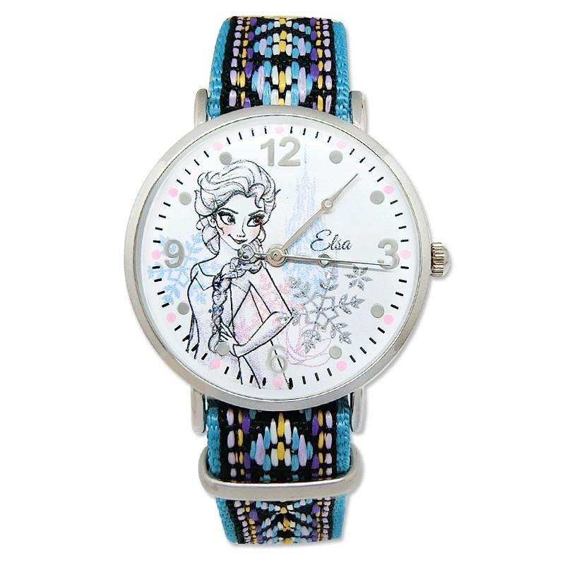 【Disney迪士尼】 典雅艾莎公主  率性織帶手錶