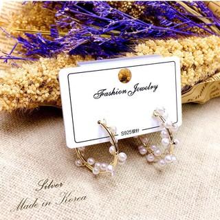 HaN💫韓國 925純銀  螺旋珍珠 金色 精緻針式耳環 臺中市