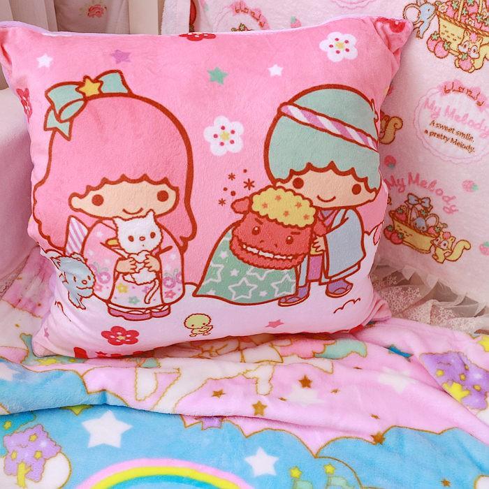【風】可愛小雙星 雙子星 抱枕毯子 靠墊 暖手三合一
