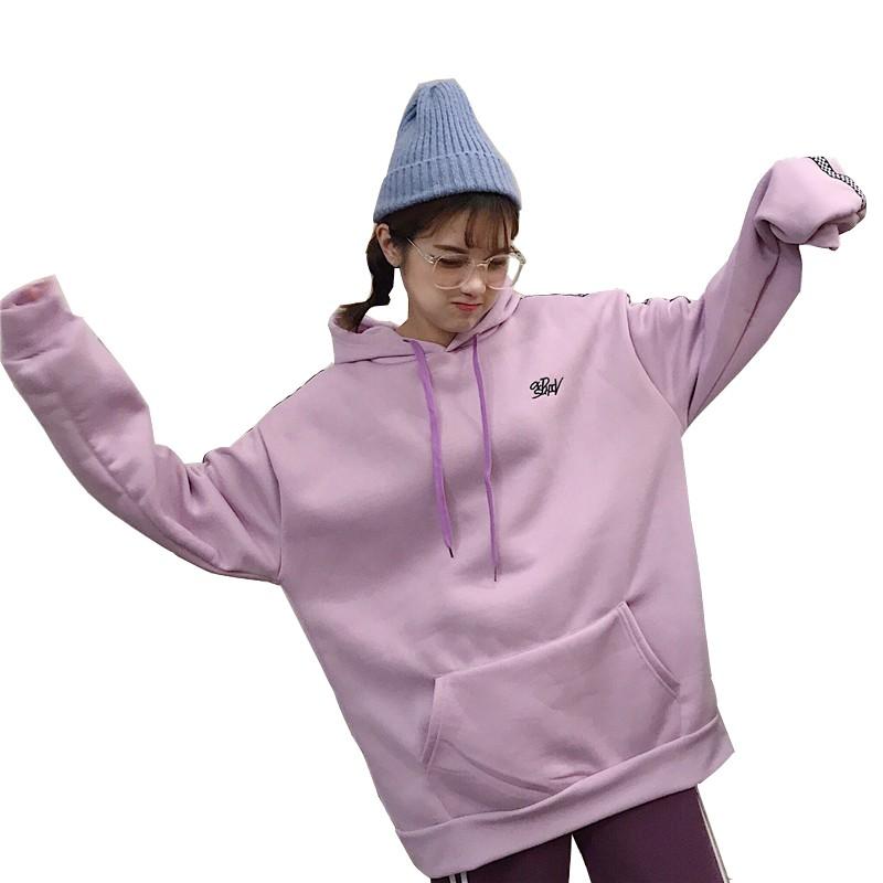 韓版新款秋季寬鬆刺繡長袖刷毛連帽大學T