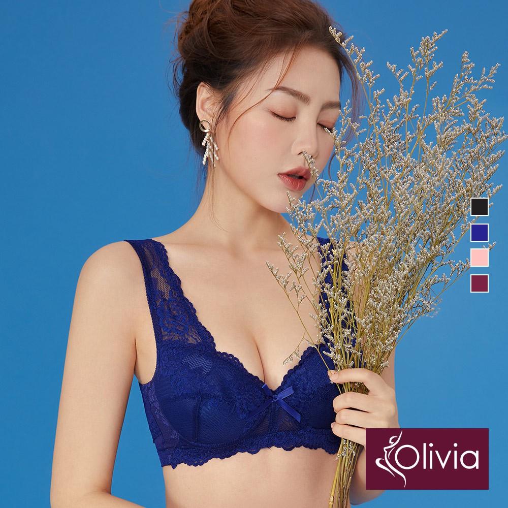 【Olivia】無鋼圈經典集中蕾絲美背內衣-藍色