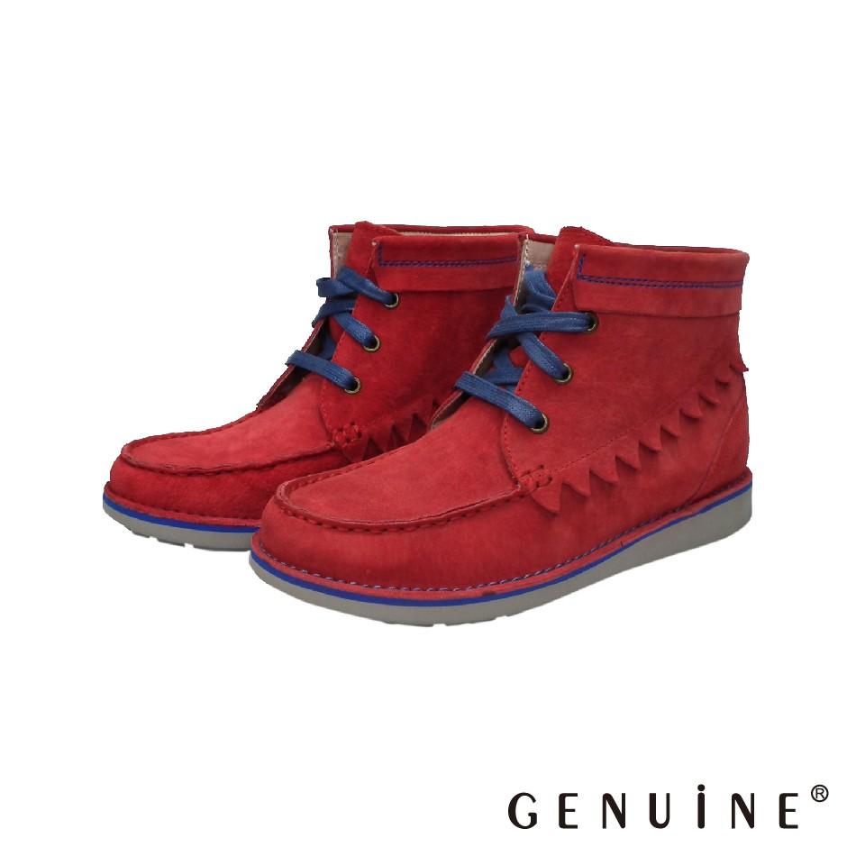 GENUINE 女款 紅色 牛反絨布造型短靴-C781401