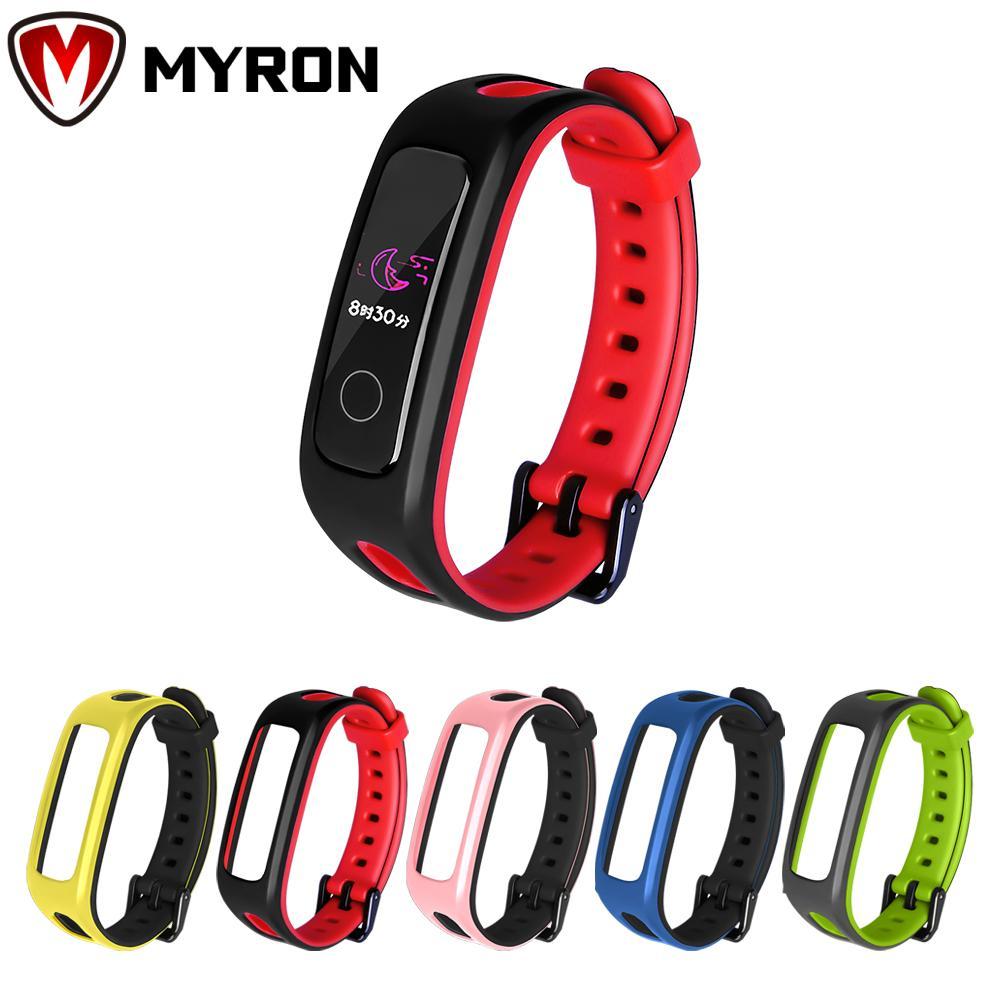 Myron 時尚腕帶多彩錶帶柔軟矽膠錶帶手鍊雙色替換經典腕帶 / 多色適用於 Huawei Band 4e 3e Hon
