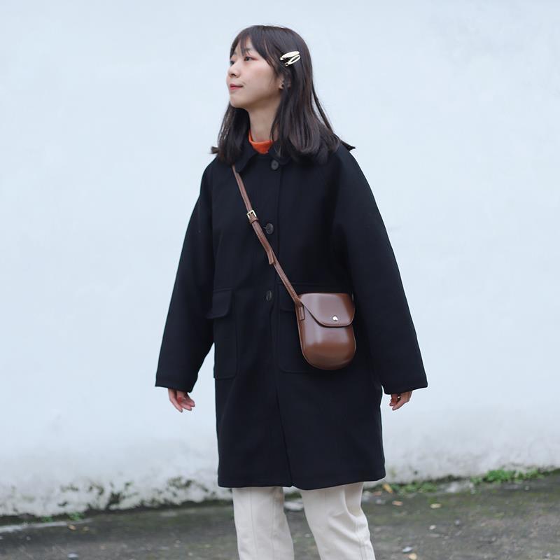 大衣 毛呢大衣 韓版大衣 毛呢外套 黑色毛大衣女中長款翻領加厚冬毛呢外套小個子學院風日系寬鬆