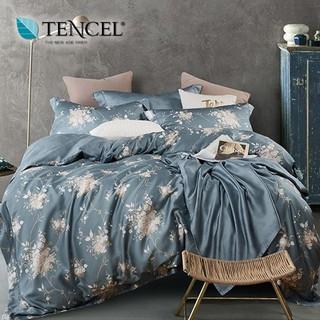 60支100%純天絲TENCEL【雙人 加大 特大組合】規格可選  兩用被床包四件組 七件式鋪棉床罩組 幽香如夢藍 台中市