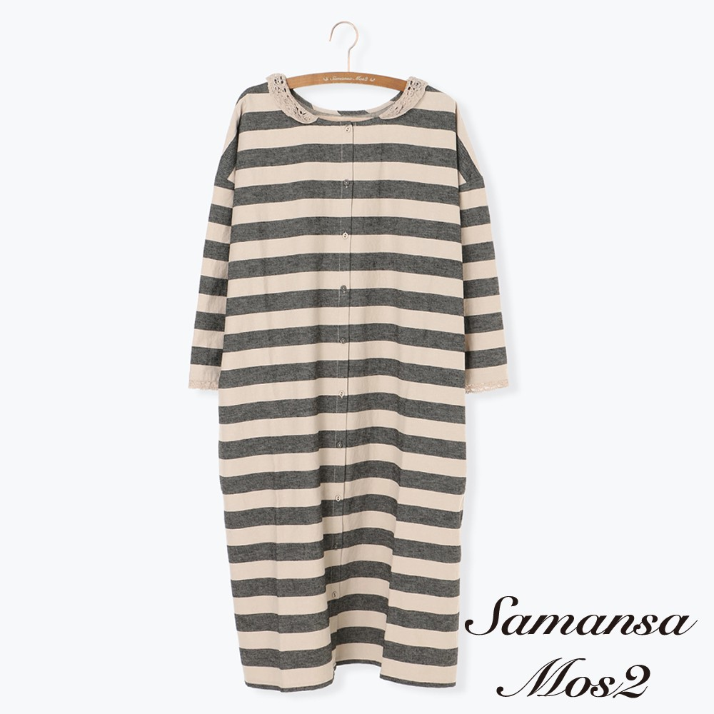 Samansa Mos2 定番橫條紋蕾絲領口連身洋裝(FL97L0H0980)
