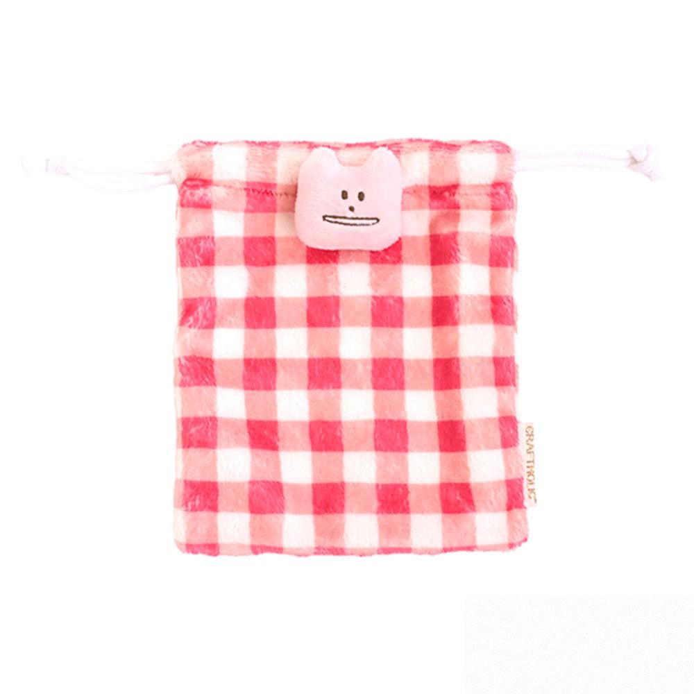 CRAFTHOLIC 宇宙人 多汁草莓格紋貓束口袋