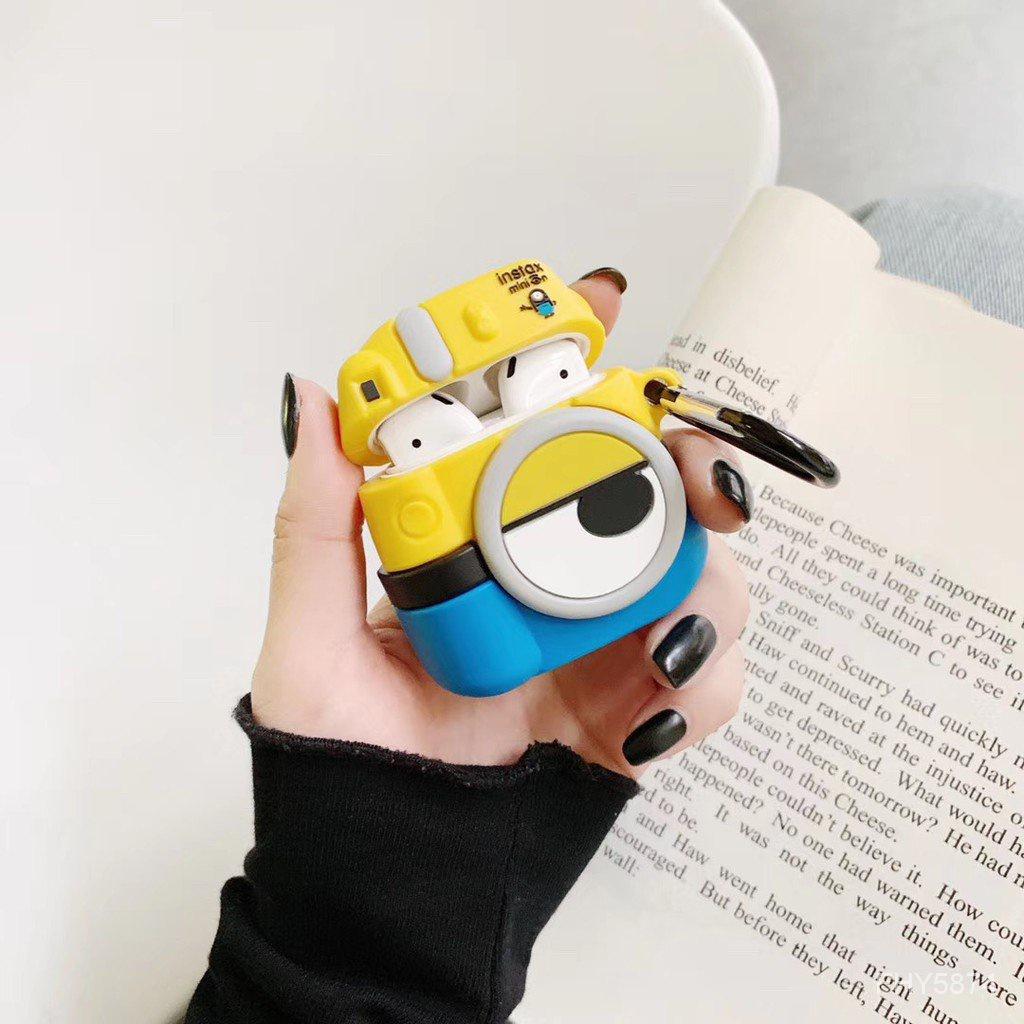 【現貨速發】小小兵相機 適用於AirPods Pro 1/2代保護套 送扣環 3D立體 分離式 蘋果耳機收納盒防摔矽膠套