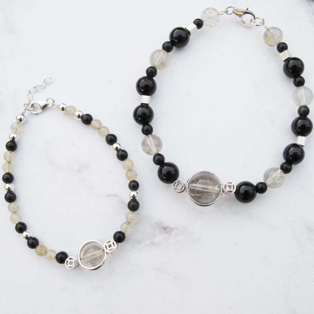 黑曜石 鈦晶 淨化加持 能量石情侶純銀手鍊 (一對)手工銀飾