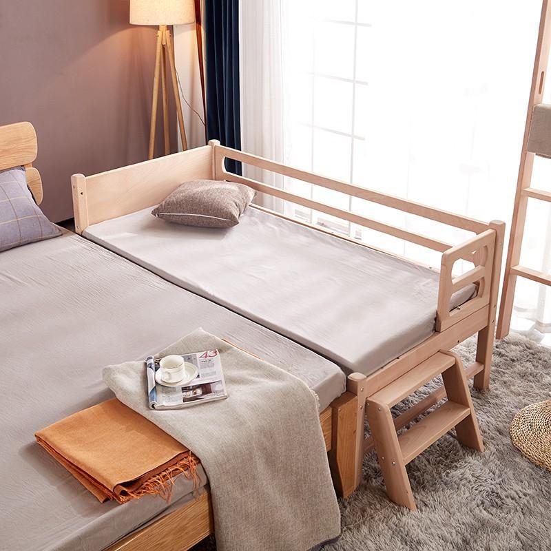 實木兒童床拼接床邊男孩女孩公主床櫸木ikea 嬰兒床加寬拼接大床帶護欄
