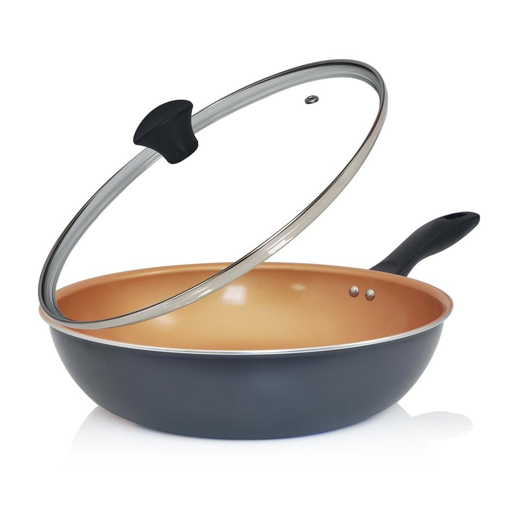 【義大利Mama Cook】米蘭經典銅瓷30cm不沾炒鍋組(含蓋/IH爐適用)(蝦皮團購)