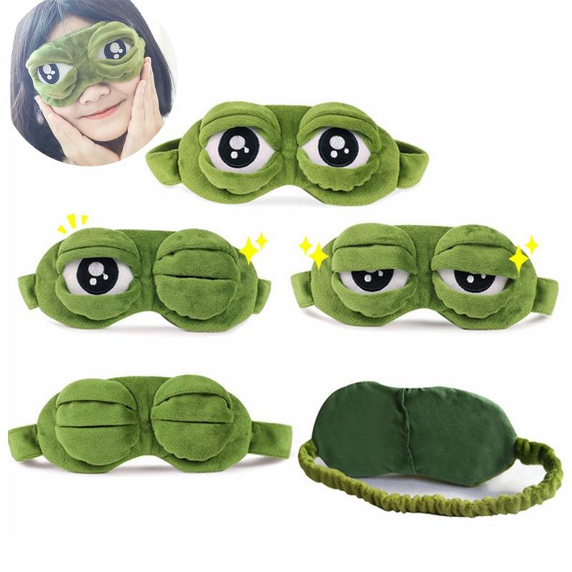 創意Pepe Sad卡通毛絨青蛙3D睡眠柔軟眼罩遮蓋好旅行禮物