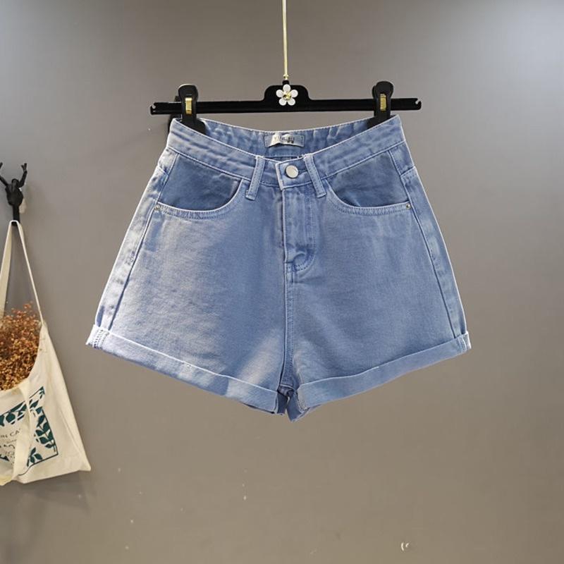 韓國牛仔短褲女 糖果色高腰闊腿卷邊寬鬆顯瘦洋氣熱褲子 時尚減齡休閒百搭直筒短褲
