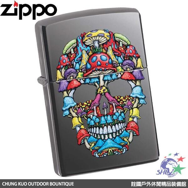 Zippo(ZP651)美系經典打火機 SKULL BLACK 魔幻蘑菇 冰晶黑 / 28504 【詮國】