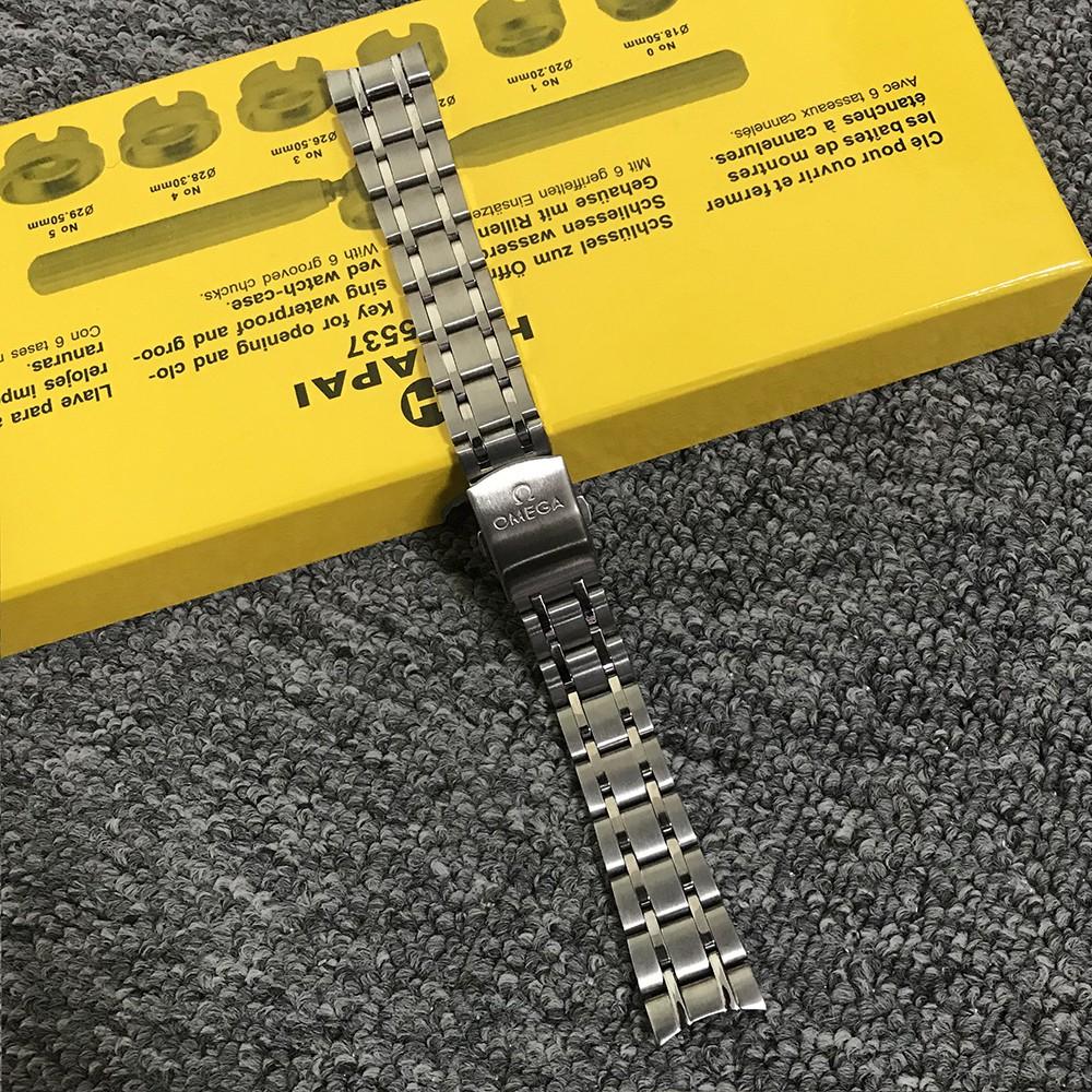 【高品質】適用 歐米茄OMEGA不鏽鋼碟飛AT8500 蝶飛DE VILLE系列 實心鋼帶 19mm