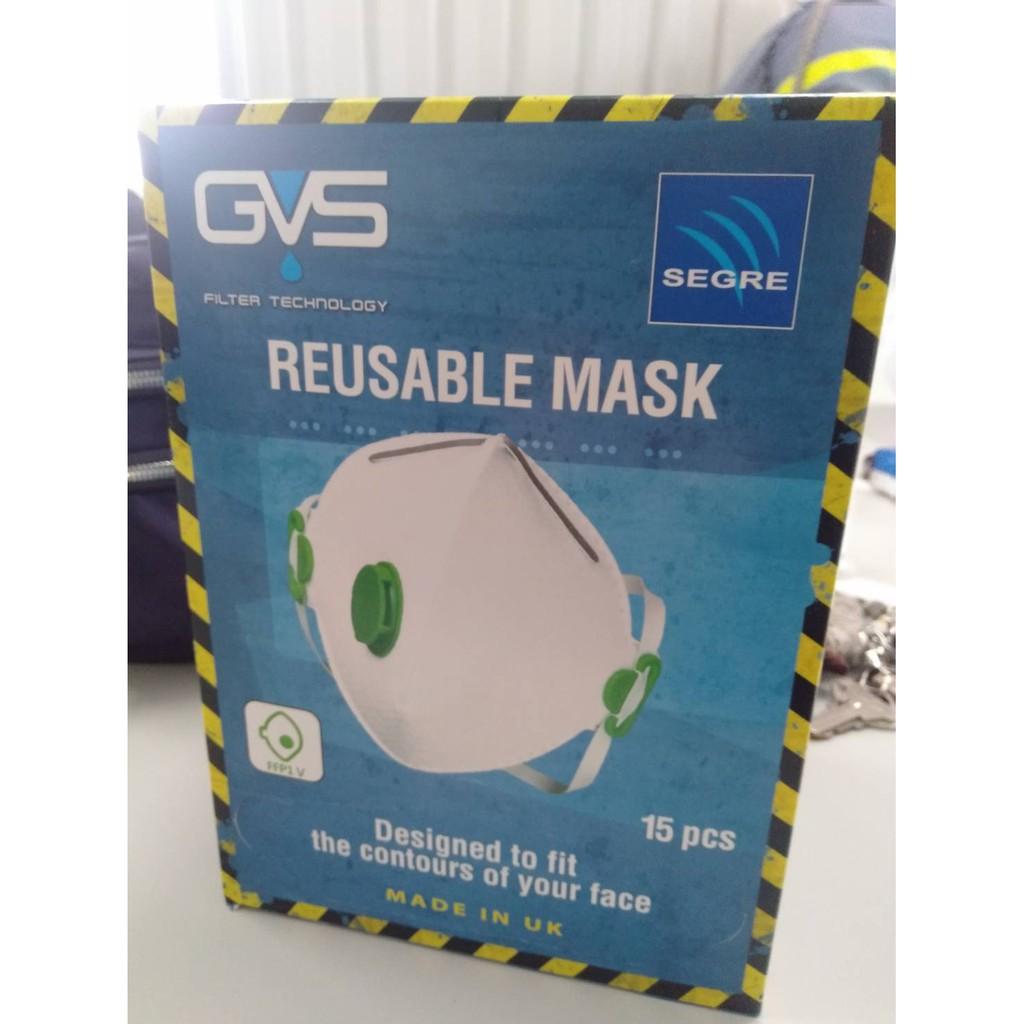 GVS呼氣閥口罩15PCS-帶呼吸閥,多層防護口罩,防塵,活性碳,阻隔 PM2.5 口罩 類似 95